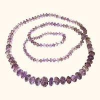 Sparkling Long Amethyst Necklace, Vintage