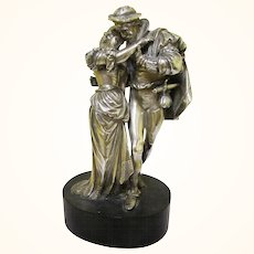 Romantic Antique Silver Theatrical Figurine Depicting Two Operatic Characters, c1880