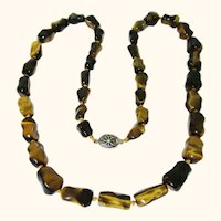 Excellent Tiger Eye Necklace with Silver Clasp, Vintage