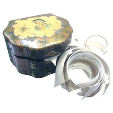 Victorian Celluloid Collar Box - Giant Size - Many Collars