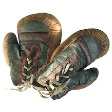 Old Child's Boxing Gloves Leather and Oil Cloth c1910