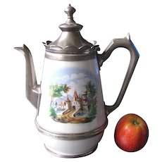 Antique Graniteware Enamelware Coffee Pot with Pewter Trim
