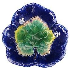 Antique Majolica Cobalt Leaf on Leaf Dish England c1880 MINT Condition!