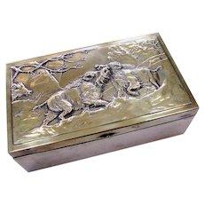 Art Nouveau WMF Humidor Cigar Box Brass Wild Boars Fighting - Red Tag Sale Item