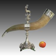 Silver Shooting Trophy - c1890 Massive Silver Horn Military Presentation Pokal