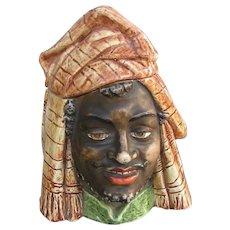 Antique Majolica Tobacco Jar - Humidor Desert Head Dress - LARGE version