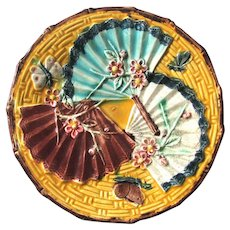Antique Majolica Fan Plate Chinoiserie Motif