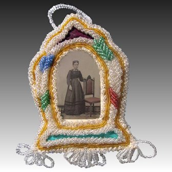 Iroquois Beaded Tintype Frame Native American Beaded Whimsy