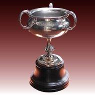 Antique Silver Seagram Trophy - Engraved Lawn Bowling Scene  - Antique Trophy c1900