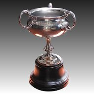 Massive Antique Seagram Trophy with Lawn Bowling Scene Engraved - Silver Trophy c1900