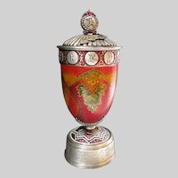 Vintage Russian Palekh Canoe Trophy Sporting Award Exquisite Enamelling