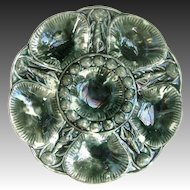 Antique Majolica Oyster Plate Mottled Glaze - After a Minton Design