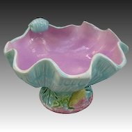 Antique Majolica Shell Bowl - Footed - Pink & Aqua