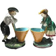 Pair Minton Majolica Figural Vintagers with Baskets c1870