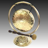 Antique Bronze Dinner Gong on Brass Stand - English c1900