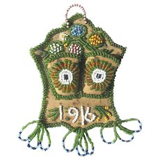Vintage Beaded Iroquois Match Holder Whimsy Dated 1916 All Original!