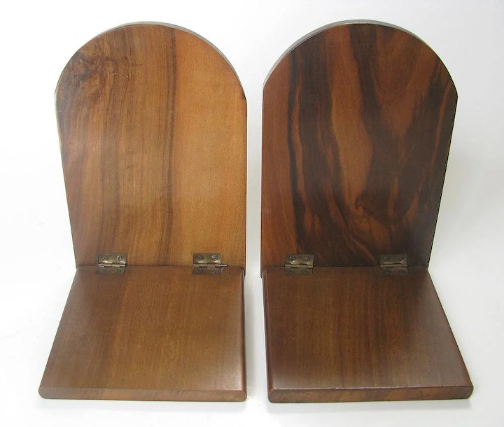 Well-known Inlaid Olive Wood Bookends Sorrento Ware - c1910 Marquetry Folding  AR41