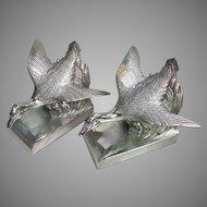 Vintage Silver Duck Bookends by J.B. Art Deco Figural Ducks in Flight