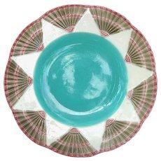 Wedgwood Argenta Majolica Plate Fan Motif dated 1873
