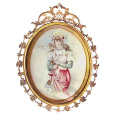 Antique Watercolor Pretty Girl in Gilded Frame - Signed