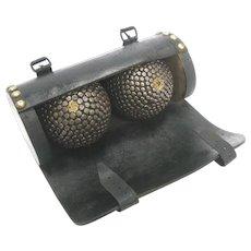 Antique Nailed Boule Balls Cased Petanque Balls c1910