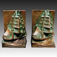 Nautical Ship Bookends Arts & Crafts Style c1925