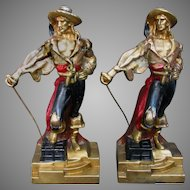 Vintage Pirate Bookends Bronze Clad by Amor Bronze -Large Version