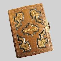 Civil War Era EMPTY CDV Photo Album Gilded Leather c1863