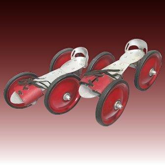 Vintage Three Wheel Roller Skates Giant Triple Wheels SUPER KING 1967