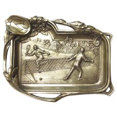 Art Nouveau Tennis Card Tray Players on Court