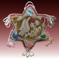 Iroquois Beaded Pin Cushion Star Bird Whimsy c1910