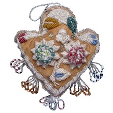 Antique Iroqois Beaded Pin Cushion Heart Shaped c1900