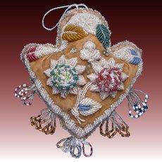 Antique Iroqois Beaded Pin Cushion Heart Shaped c1900