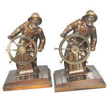 Vintage Nautical Bookends Fisherman at the Helm 1930 Ronson Figurals