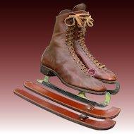 Vintage Figure Skates with Leather Blade Guards - German Steel Ice Skates Blades