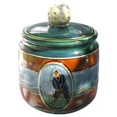 Figural Golf Humidor Tobacco Jar c1920 England