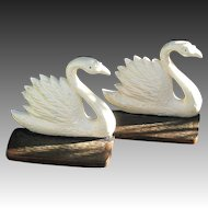 Vintage Swan Bookends Figural Cast Iron