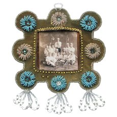 Antique Native Beaded Iroquois Frame c1910