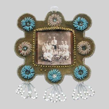 Antique Native Beaded Iroquois Frame c1910