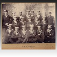 Antique Sailor Photo Canadian Battleship Crew 1898