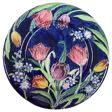c1930 Maling Plate  Tube Lined  Tulips on Cobalt Blue