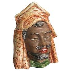 Antique Majolica Tobacco Jar - Humidor Desert Head Dress - SMALL version