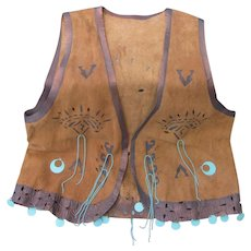 Fine Vintage Suede Vest West Coast Style Native American Inspired