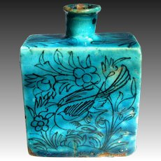 Antique Persian Qajar Flask - Persian Blue Pottery Bottle