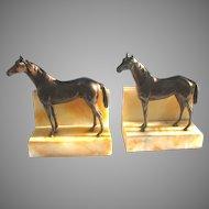 Vintage Horse Bookends Figural on Alabaster