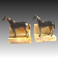 Vintage Horse Bookends Figural on Alabaster