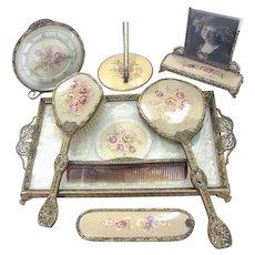 Vintage Petit Point Vanity Dresser Set - Mid-Century 8 Pieces