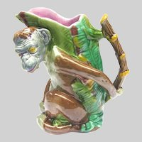 English Majolica Monkey Pitcher – Large – Colourful