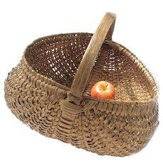 Antique Splint Buttock Basket - Large Finely Woven Buttock Basket