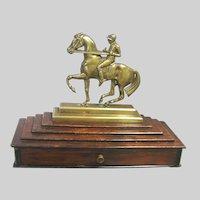 Brass Jockey on Horse Trinket Box Equestrian Horse Racing Antique